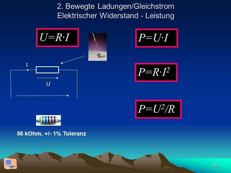 90 2. Bewegte Ladungen/Gleichstrom Elektrischer Widerstand - Leistung U=R·I U I 56 kOhm, +/- 1% Toleranz P=U·I P=R·I 2 P=U 2 /R