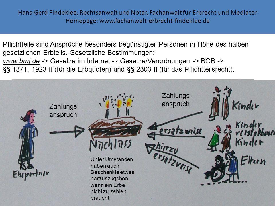 Hans-Gerd Findeklee, Rechtsanwalt und Notar, Fachanwalt für Erbrecht und Mediator Homepage: www.fachanwalt-erbrecht-findeklee.de Unter Umständen haben