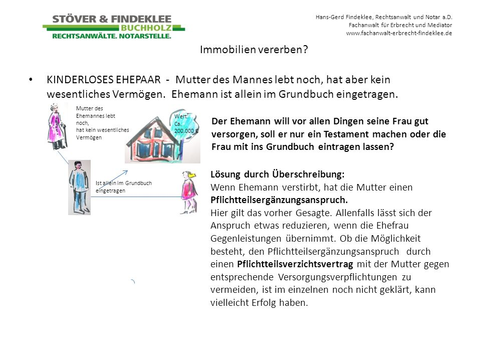 Hans-Gerd Findeklee, Rechtsanwalt und Notar a.D. Fachanwalt für Erbrecht und Mediator www.fachanwalt-erbrecht-findeklee.de KINDERLOSES EHEPAAR - Mutte