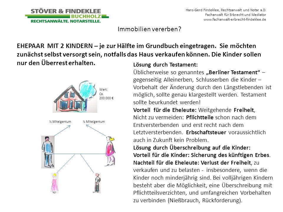 Hans-Gerd Findeklee, Rechtsanwalt und Notar a.D. Fachanwalt für Erbrecht und Mediator www.fachanwalt-erbrecht-findeklee.de EHEPAAR MIT 2 KINDERN – je