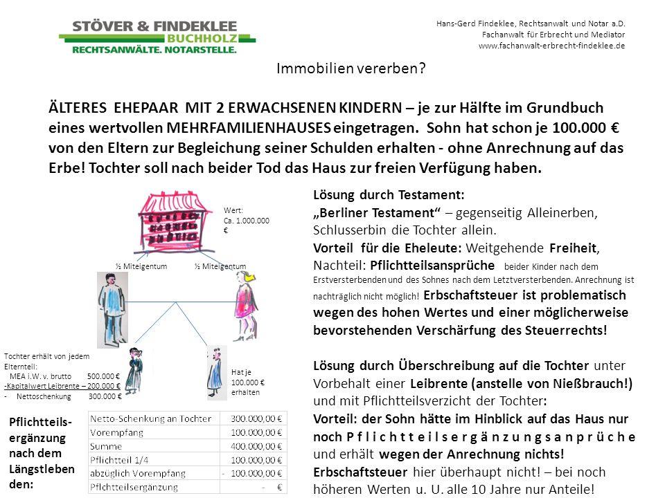 Hans-Gerd Findeklee, Rechtsanwalt und Notar a.D. Fachanwalt für Erbrecht und Mediator www.fachanwalt-erbrecht-findeklee.de ÄLTERES EHEPAAR MIT 2 ERWAC