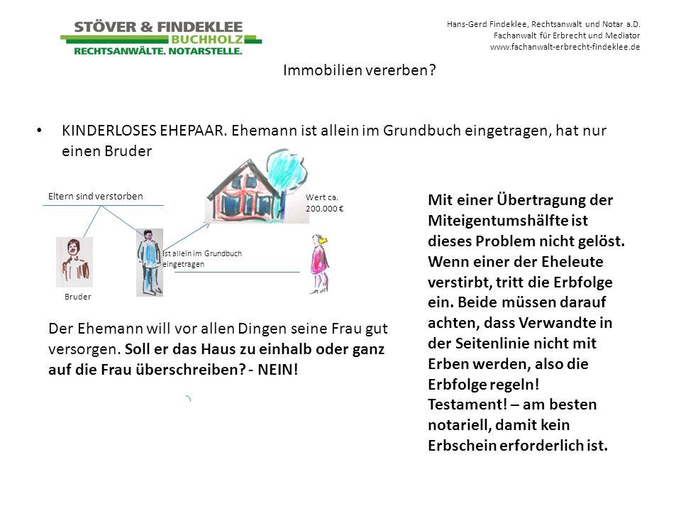 Hans-Gerd Findeklee, Rechtsanwalt und Notar a.D. Fachanwalt für Erbrecht und Mediator www.fachanwalt-erbrecht-findeklee.de KINDERLOSES EHEPAAR. Eheman