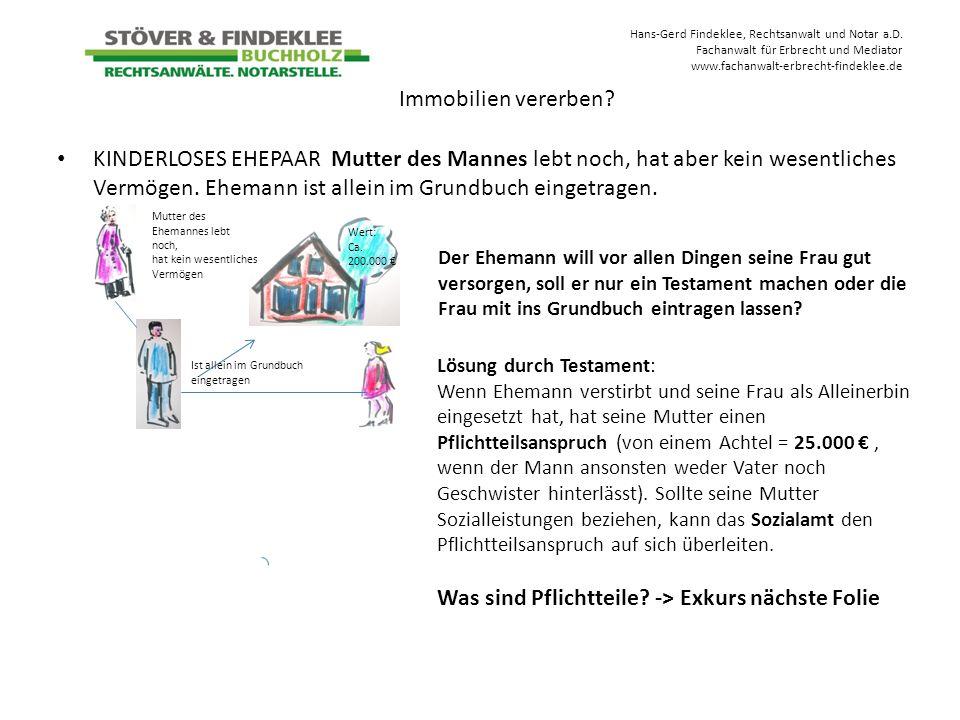 Hans-Gerd Findeklee, Rechtsanwalt und Notar a.D. Fachanwalt für Erbrecht und Mediator www.fachanwalt-erbrecht-findeklee.de KINDERLOSES EHEPAAR Mutter