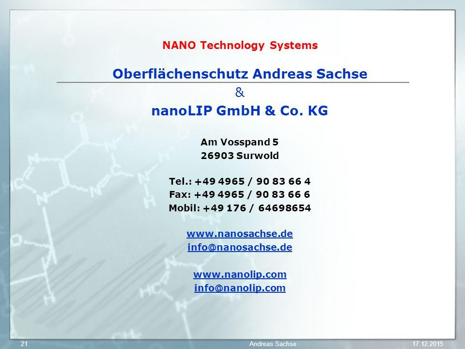 NANO Technology Systems Oberflächenschutz Andreas Sachse & nanoLIP GmbH & Co. KG Am Vosspand 5 26903 Surwold Tel.: +49 4965 / 90 83 66 4 Fax: +49 4965