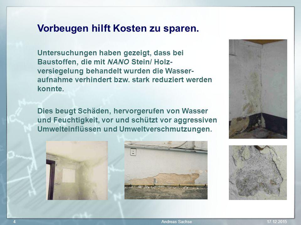 Vorbeugen hilft Kosten zu sparen. Untersuchungen haben gezeigt, dass bei Baustoffen, die mit NANO Stein/ Holz- versiegelung behandelt wurden die Wasse
