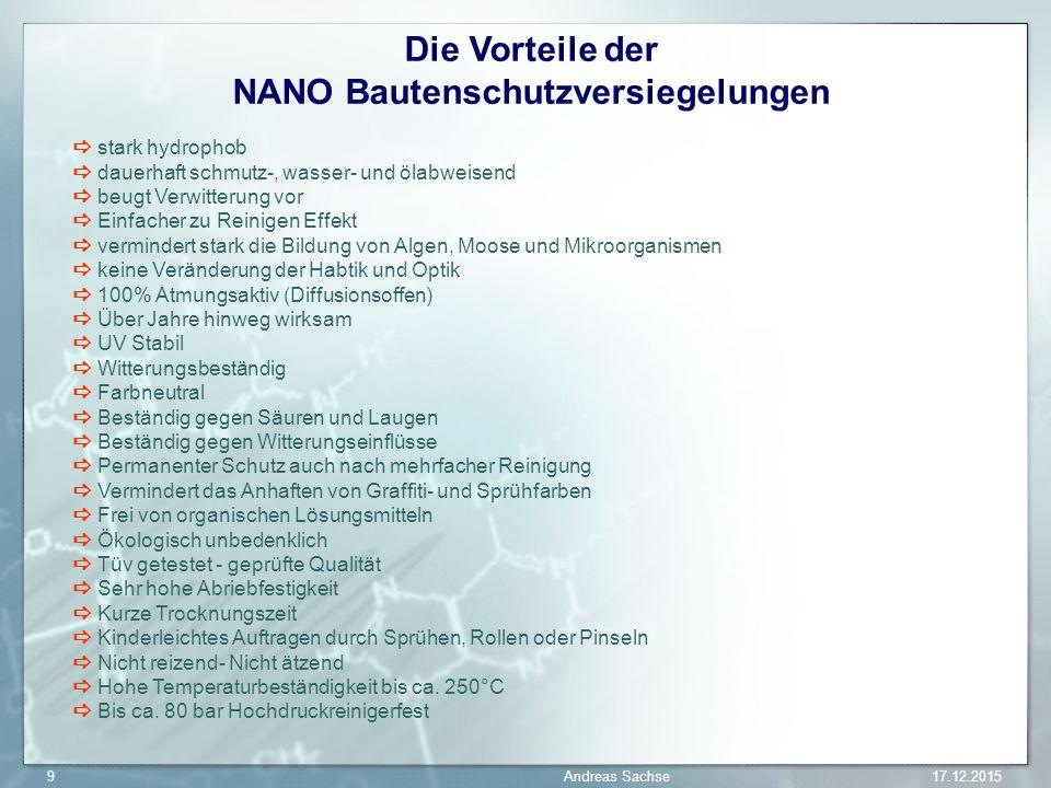 Die Vorteile der NANO Bautenschutzversiegelungen stark hydrophob dauerhaft schmutz-, wasser- und ölabweisend beugt Verwitterung vor Einfacher zu Reini