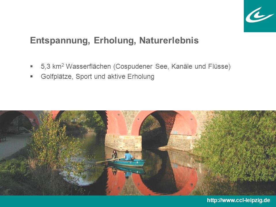 Entspannung, Erholung, Naturerlebnis  5,3 km 2 Wasserflächen (Cospudener See, Kanäle und Flüsse)  Golfplätze, Sport und aktive Erholung http://www.ccl-leipzig.de