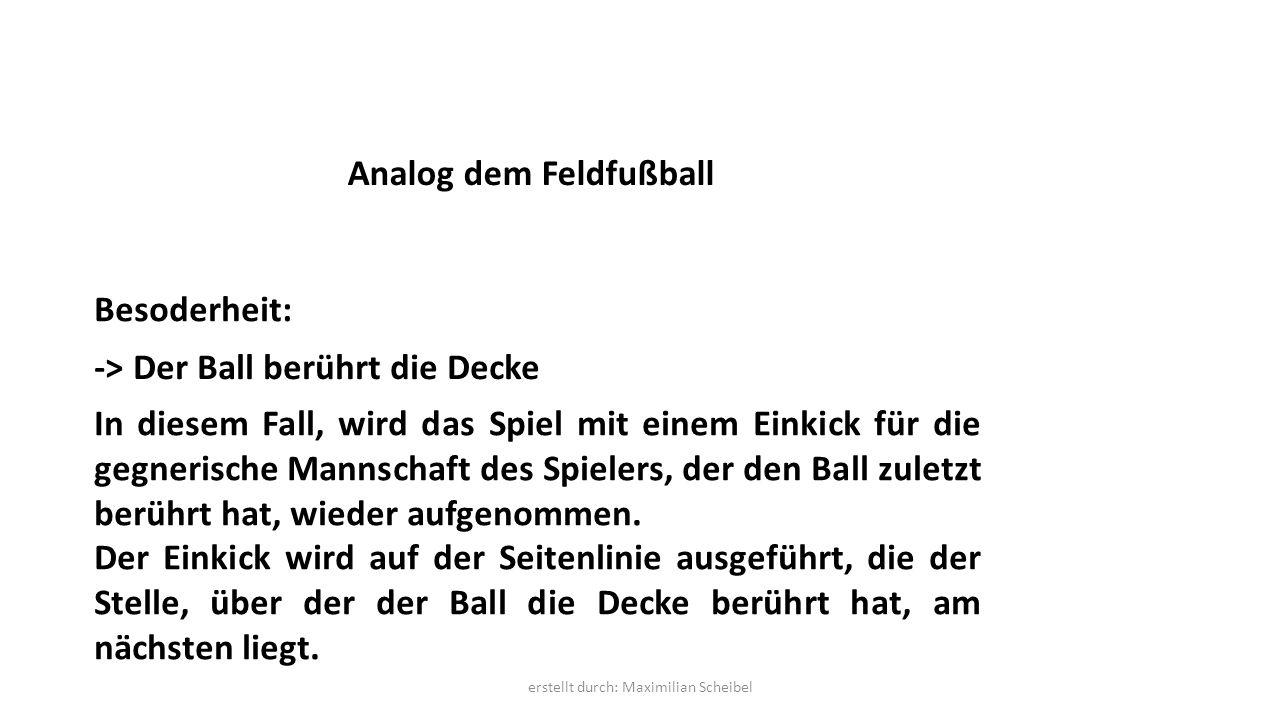 In diesem Fall, wird das Spiel mit einem Einkick für die gegnerische Mannschaft des Spielers, der den Ball zuletzt berührt hat, wieder aufgenommen.