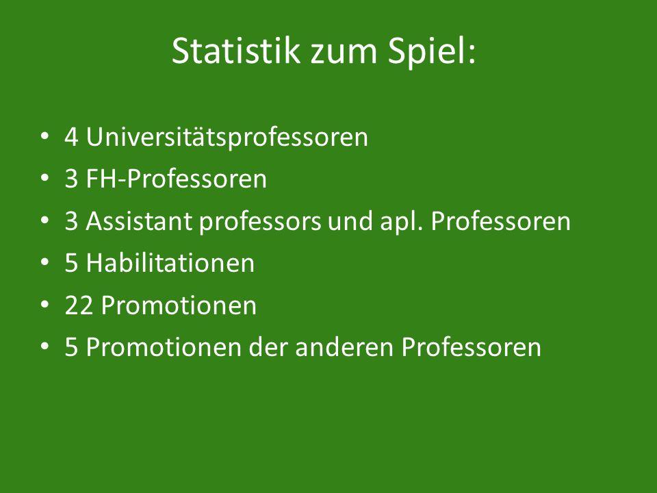 Statistik zum Spiel: 4 Universitätsprofessoren 3 FH-Professoren 3 Assistant professors und apl. Professoren 5 Habilitationen 22 Promotionen 5 Promotio