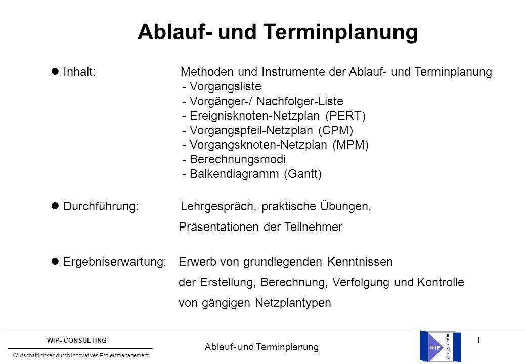 1 Inhalt: Methoden und Instrumente der Ablauf- und Terminplanung - Vorgangsliste - Vorgänger-/ Nachfolger-Liste - Ereignisknoten-Netzplan (PERT) - Vor