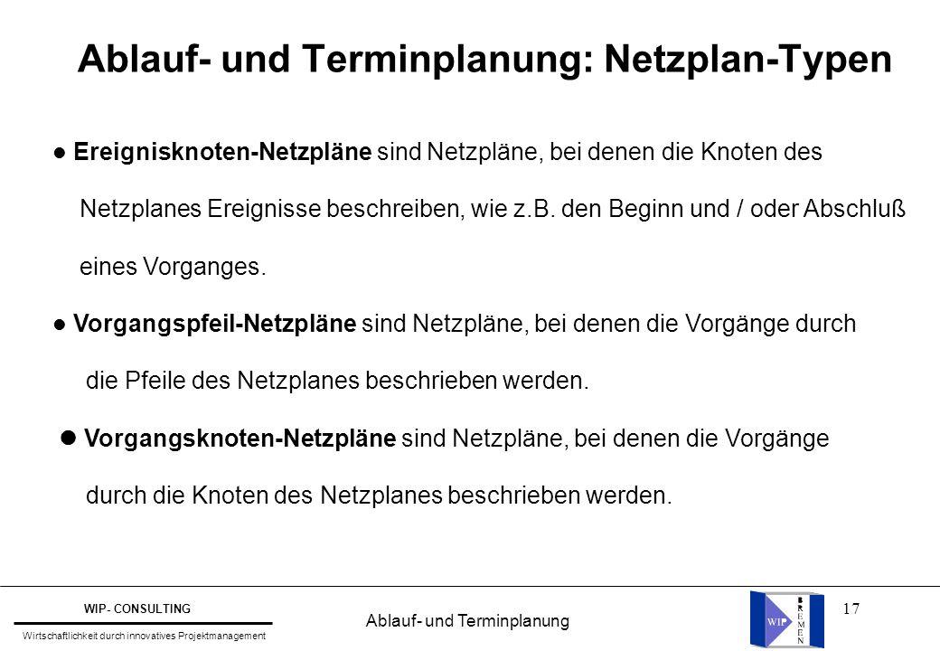 17 Ablauf- und Terminplanung: Netzplan-Typen l Ereignisknoten-Netzpläne sind Netzpläne, bei denen die Knoten des Netzplanes Ereignisse beschreiben, wi