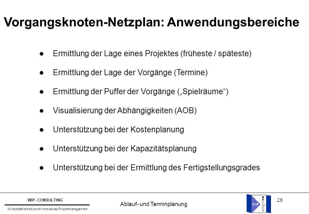 28 Vorgangsknoten-Netzplan: Anwendungsbereiche l Ermittlung der Lage eines Projektes (früheste / späteste) l Ermittlung der Lage der Vorgänge (Termine