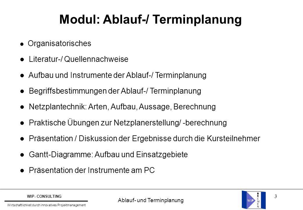 3 l Organisatorisches l Literatur-/ Quellennachweise l Aufbau und Instrumente der Ablauf-/ Terminplanung l Begriffsbestimmungen der Ablauf-/ Terminpla
