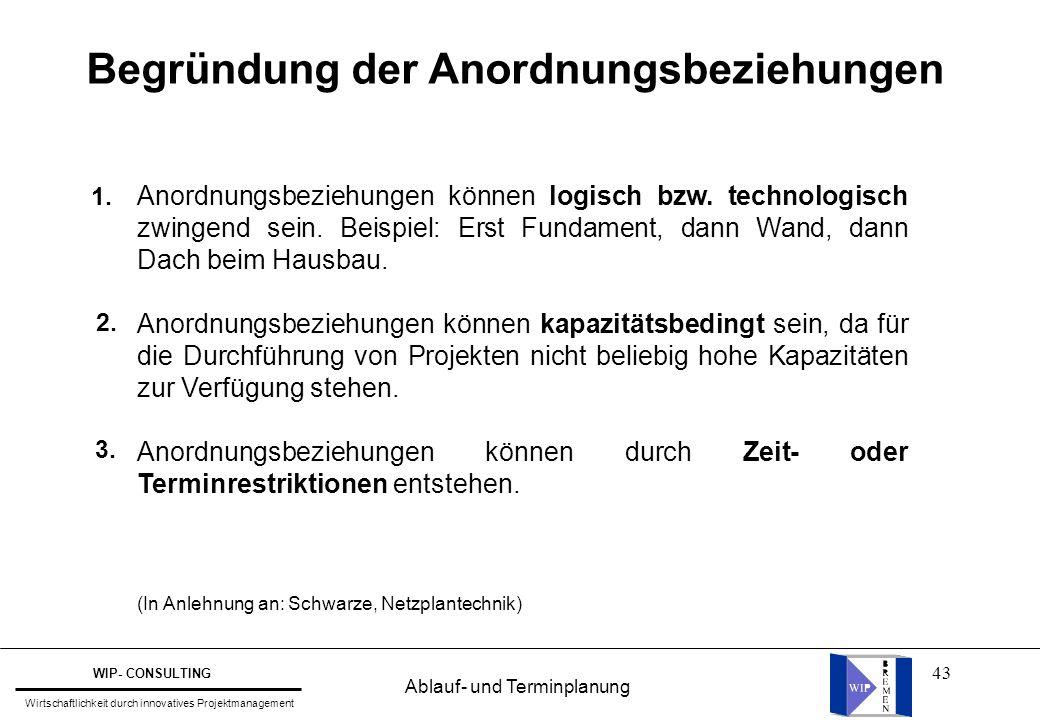 43 Begründung der Anordnungsbeziehungen Anordnungsbeziehungen können logisch bzw. technologisch zwingend sein. Beispiel: Erst Fundament, dann Wand, da