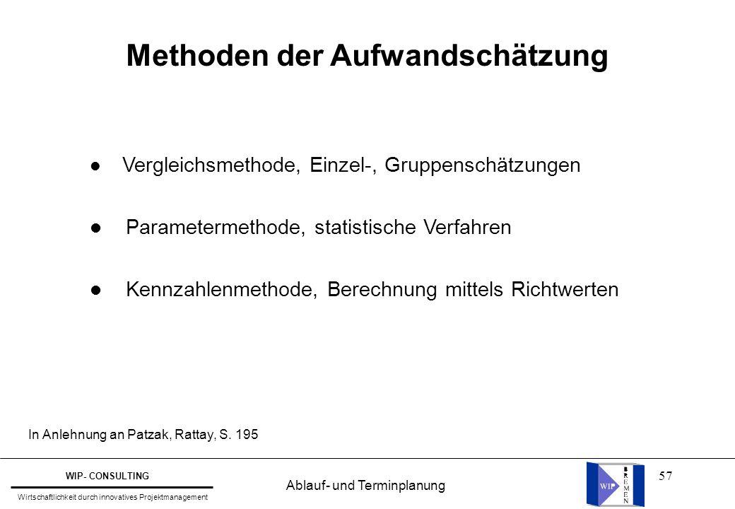57 Methoden der Aufwandschätzung l Vergleichsmethode, Einzel-, Gruppenschätzungen l Parametermethode, statistische Verfahren l Kennzahlenmethode, Bere