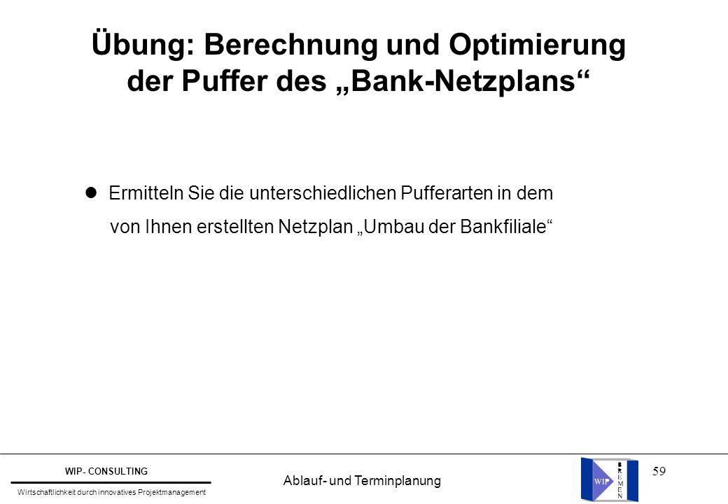 """59 Übung: Berechnung und Optimierung der Puffer des """"Bank-Netzplans"""" Ermitteln Sie die unterschiedlichen Pufferarten in dem von Ihnen erstellten Netzp"""