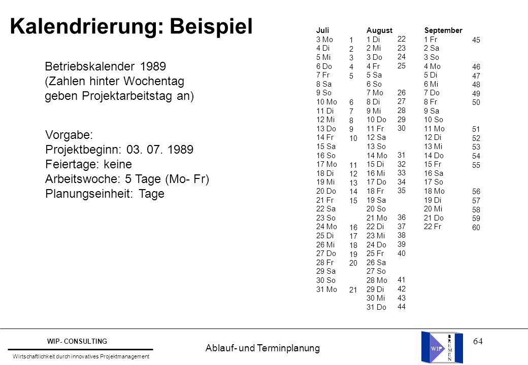 64 Kalendrierung: Beispiel Vorgabe: Projektbeginn: 03. 07. 1989 Feiertage: keine Arbeitswoche: 5 Tage (Mo- Fr) Planungseinheit: Tage Betriebskalender