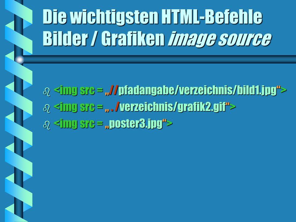 Die wichtigsten HTML-Befehle Bilder / Grafiken image source b b
