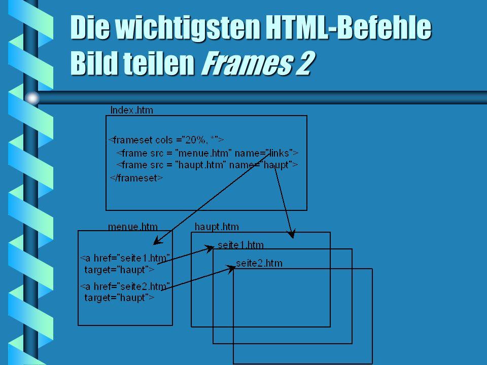 Die wichtigsten HTML-Befehle Bild teilen Frames 2