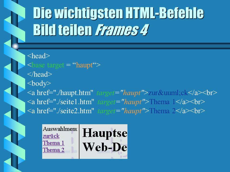 Die wichtigsten HTML-Befehle Bild teilen Frames 4 zurück Thema 1 Thema 2
