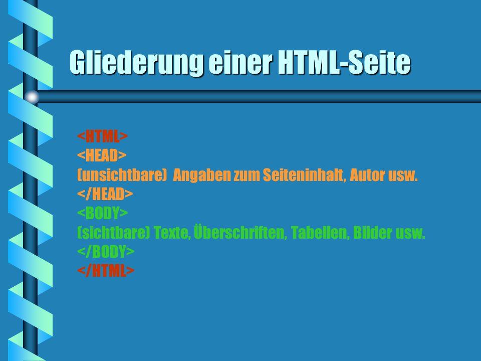 Gliederung einer HTML-Seite (unsichtbare) Angaben zum Seiteninhalt, Autor usw. (sichtbare) Texte, Überschriften, Tabellen, Bilder usw.
