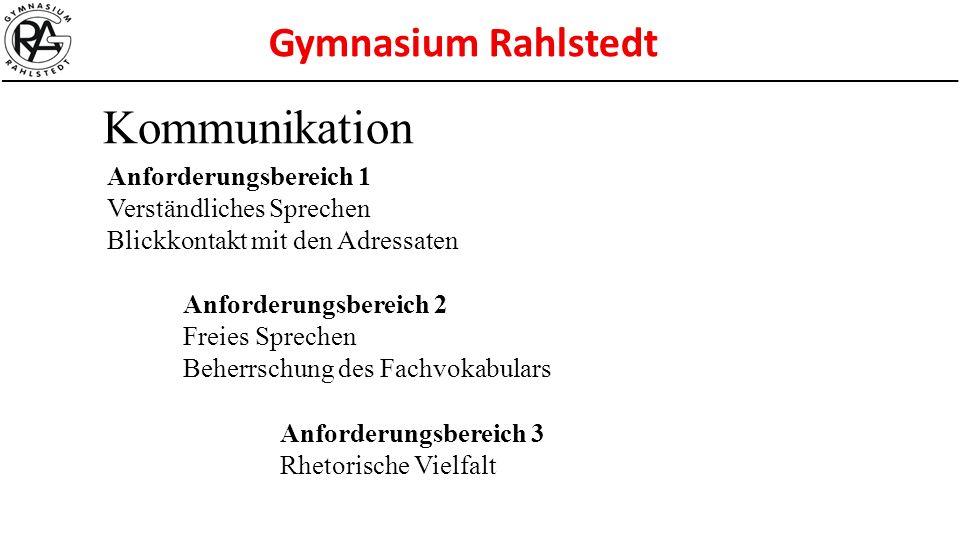 Gymnasium Rahlstedt Kommunikation Anforderungsbereich 1 Verständliches Sprechen Blickkontakt mit den Adressaten Anforderungsbereich 2 Freies Sprechen