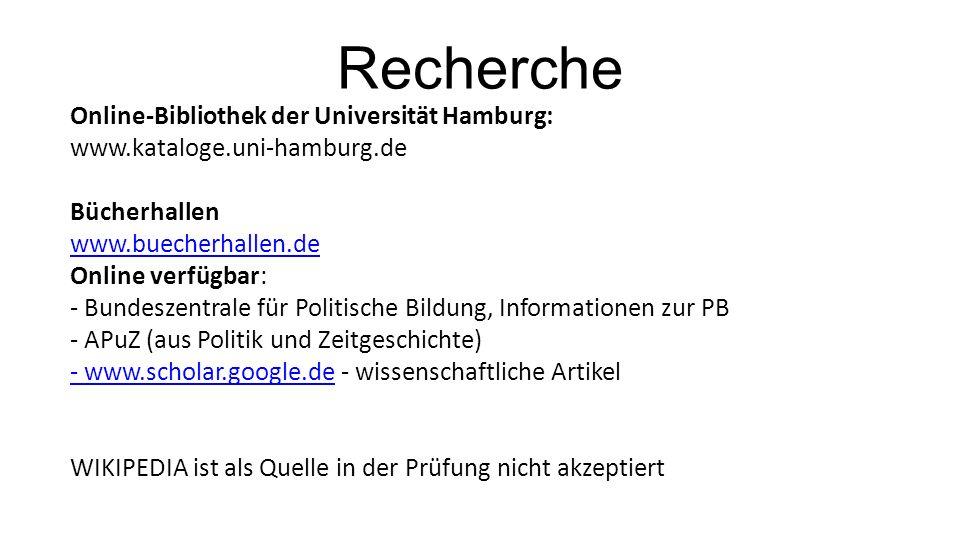 Recherche Online-Bibliothek der Universität Hamburg: www.kataloge.uni-hamburg.de Bücherhallen www.buecherhallen.de Online verfügbar: - Bundeszentrale