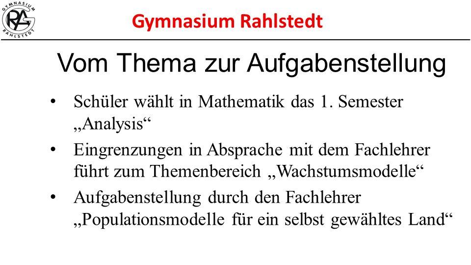 """Gymnasium Rahlstedt Schüler wählt in Mathematik das 1. Semester """"Analysis"""" Eingrenzungen in Absprache mit dem Fachlehrer führt zum Themenbereich """"Wach"""