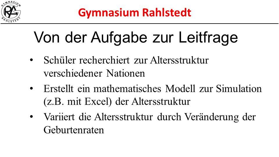 Gymnasium Rahlstedt Schüler recherchiert zur Altersstruktur verschiedener Nationen Erstellt ein mathematisches Modell zur Simulation (z.B. mit Excel)