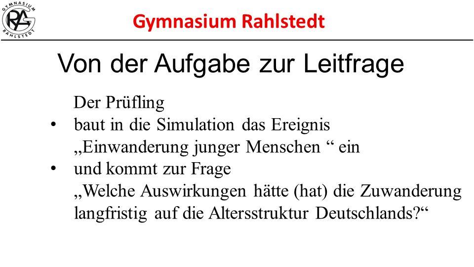 """Gymnasium Rahlstedt Der Prüfling baut in die Simulation das Ereignis """"Einwanderung junger Menschen """" ein und kommt zur Frage """"Welche Auswirkungen hätt"""