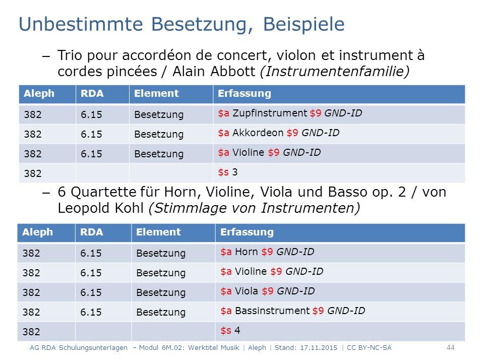 Unbestimmte Besetzung, Beispiele – Trio pour accordéon de concert, violon et instrument à cordes pincées / Alain Abbott (Instrumentenfamilie) – 6 Q