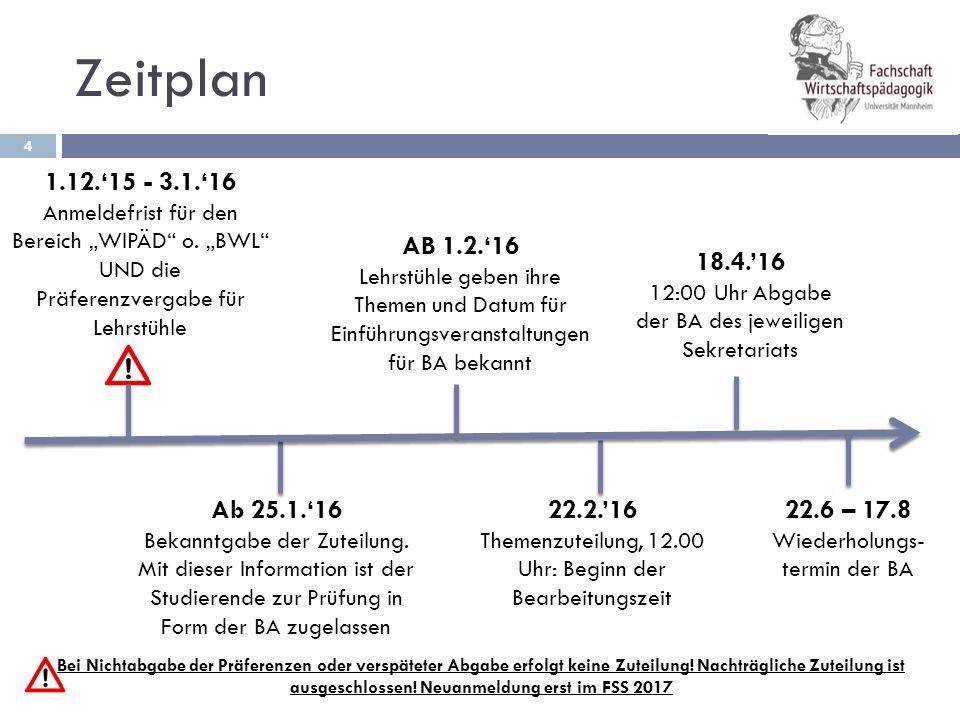 BA im Fachbereich WIPÄD 5  Lehrstühle  Lehrstuhl 1 Prof.