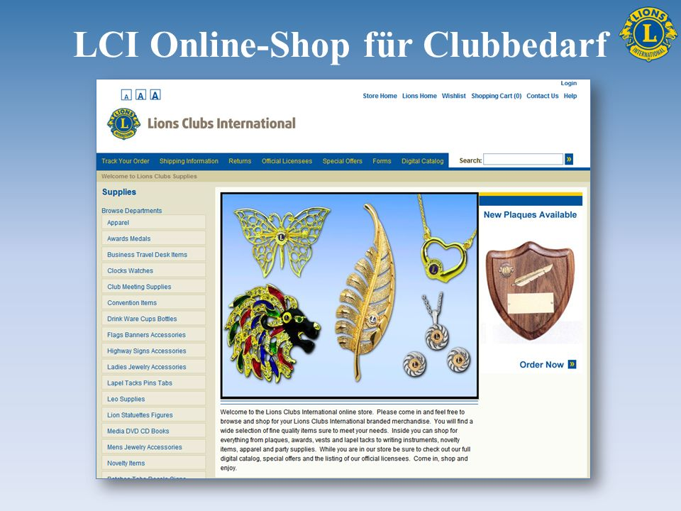 LCI Online-Shop für Clubbedarf