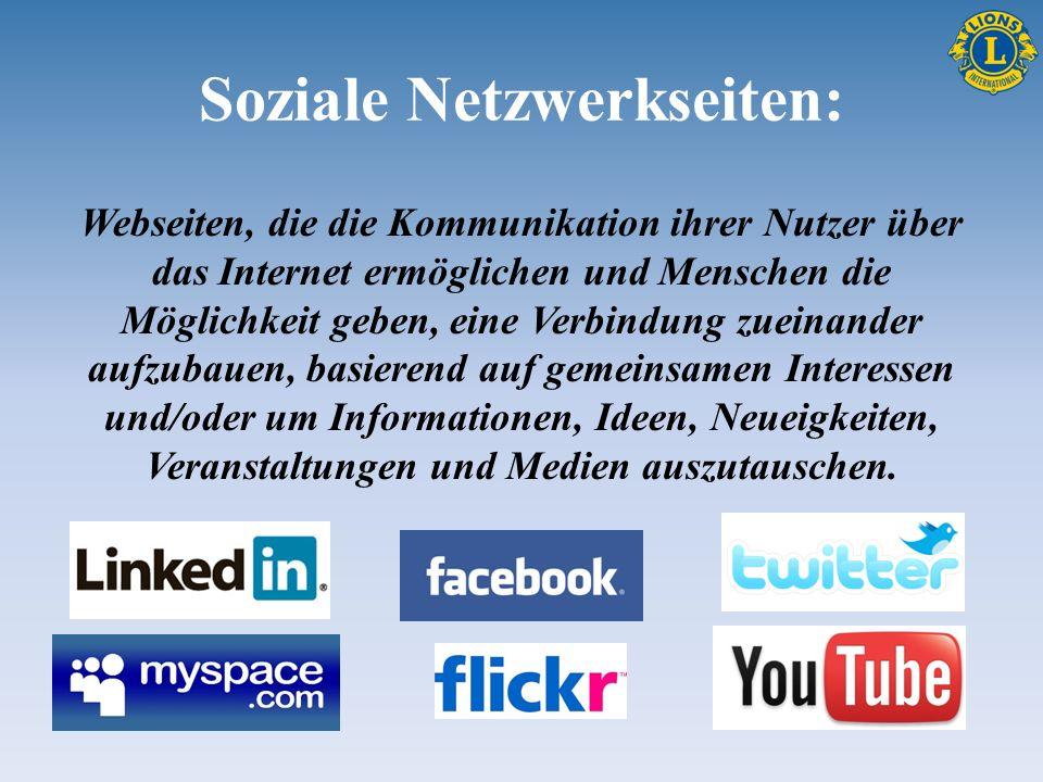 Soziale Netzwerkseiten: Webseiten, die die Kommunikation ihrer Nutzer über das Internet ermöglichen und Menschen die Möglichkeit geben, eine Verbindun