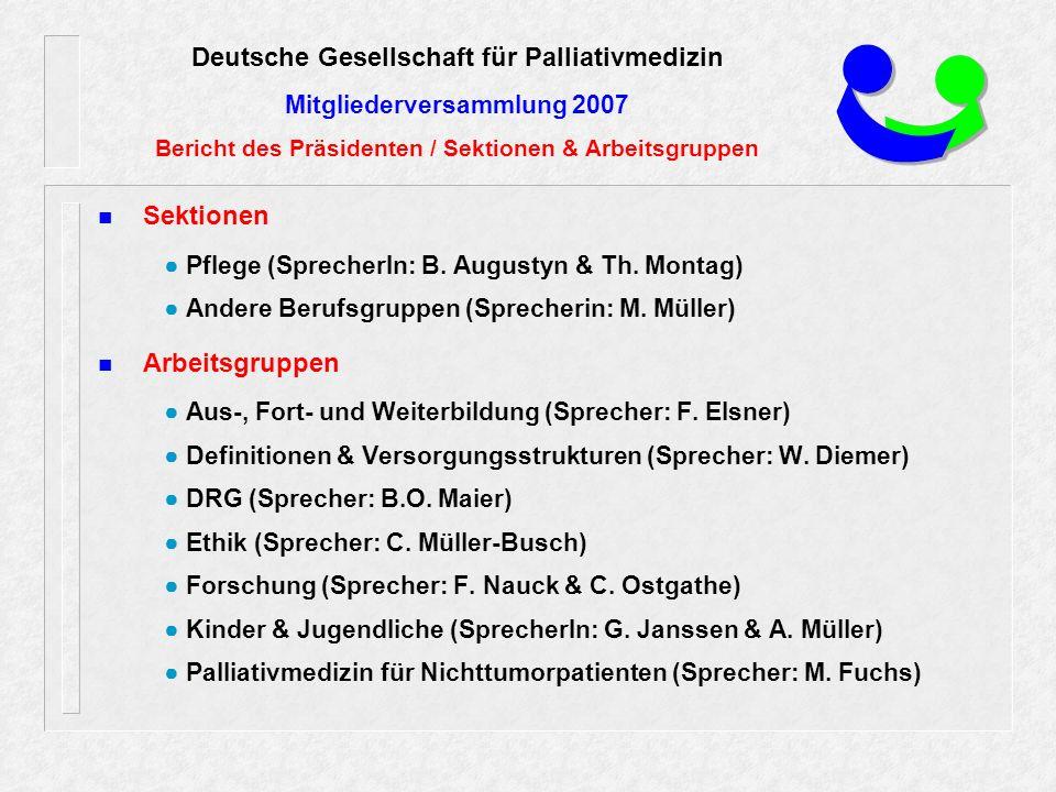 Sektionen ● Pflege (SprecherIn: B. Augustyn & Th.