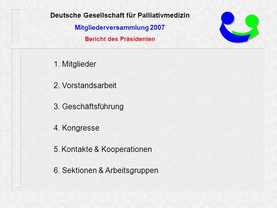 Deutsche Gesellschaft für Palliativmedizin Mitgliederversammlung 2007 Bericht des Präsidenten 1.