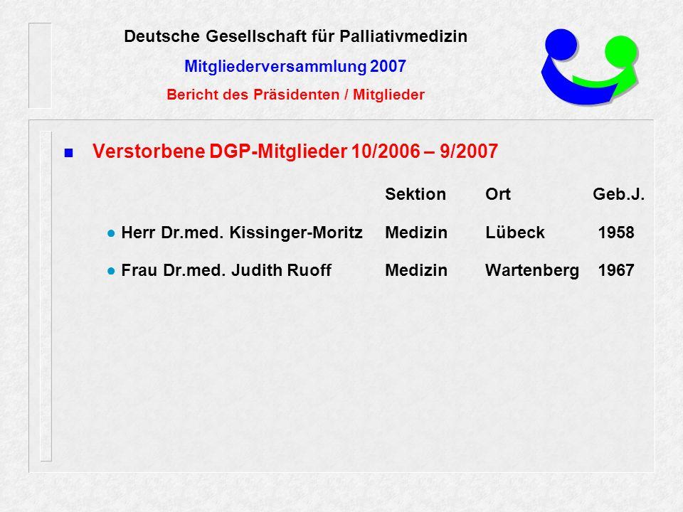 Verstorbene DGP-Mitglieder 10/2006 – 9/2007 SektionOrtGeb.J.