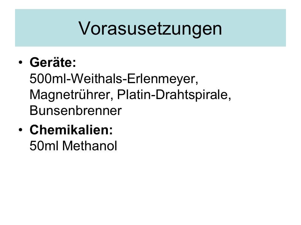 Vorasusetzungen Geräte: 500ml-Weithals-Erlenmeyer, Magnetrührer, Platin-Drahtspirale, Bunsenbrenner Chemikalien: 50ml Methanol