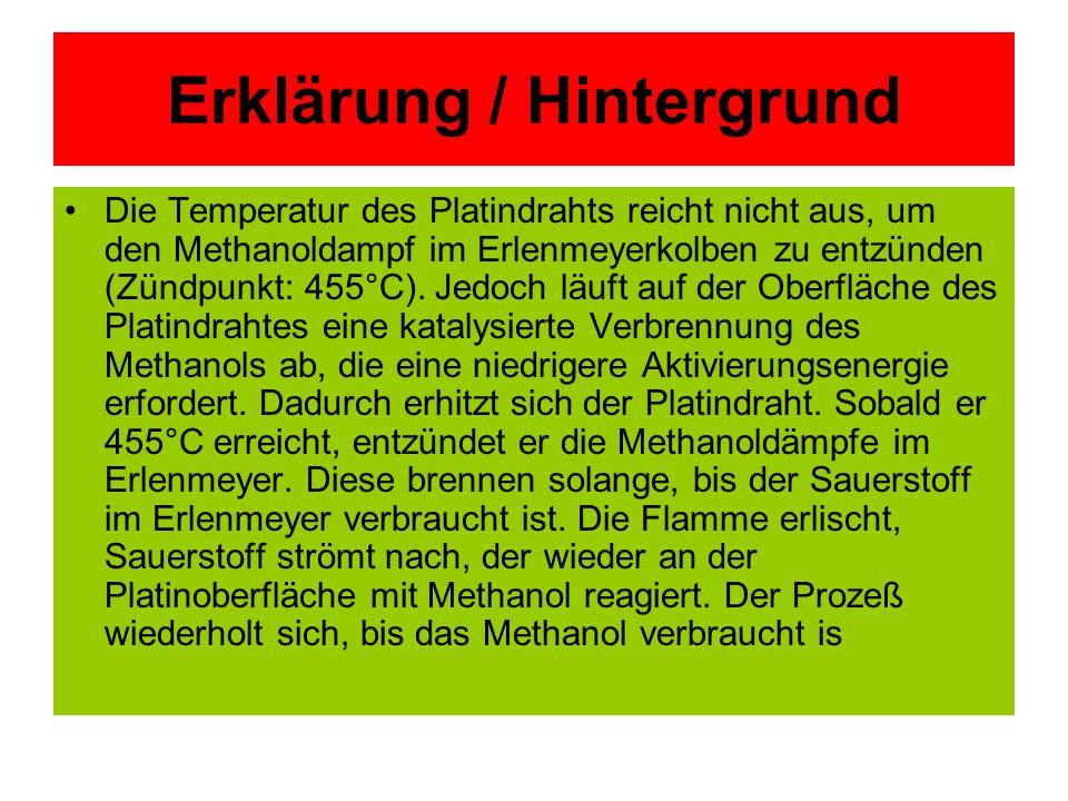 Erklärung / Hintergrund Die Temperatur des Platindrahts reicht nicht aus, um den Methanoldampf im Erlenmeyerkolben zu entzünden (Zündpunkt: 455°C). Je