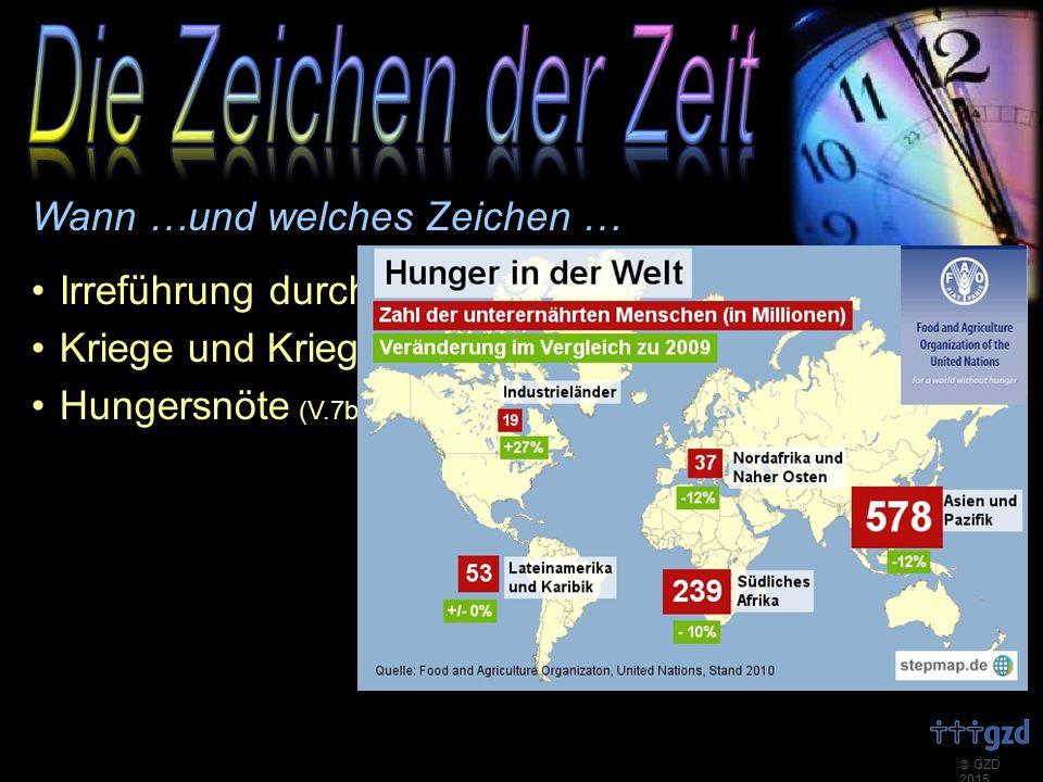  GZD 2015 Wann …und welches Zeichen … Irreführung durch falsche Heilsbringer (V.4-5) Kriege und Kriegsgefahren (V.6-7a) Hungersnöte (V.7b)
