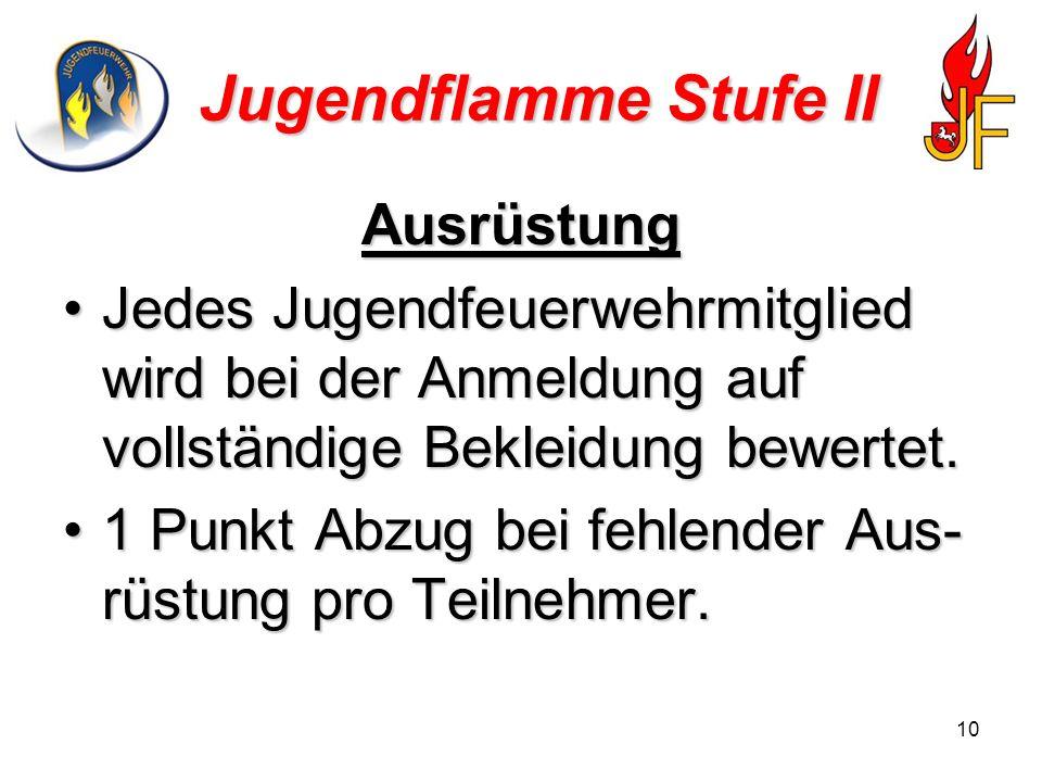 10 Jugendflamme Stufe II Ausrüstung Jedes Jugendfeuerwehrmitglied wird bei der Anmeldung auf vollständige Bekleidung bewertet.Jedes Jugendfeuerwehrmit