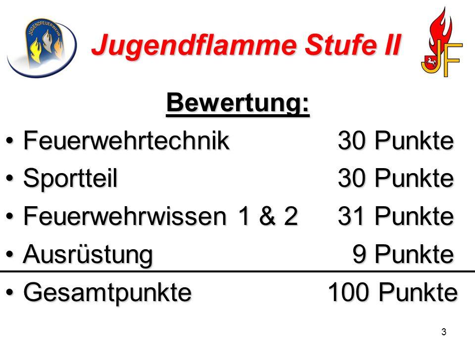 4 Jugendflamme Stufe II Feuerwehrtechnik (Übung) Punktevorgabe sind 30 Punkte.Punktevorgabe sind 30 Punkte.