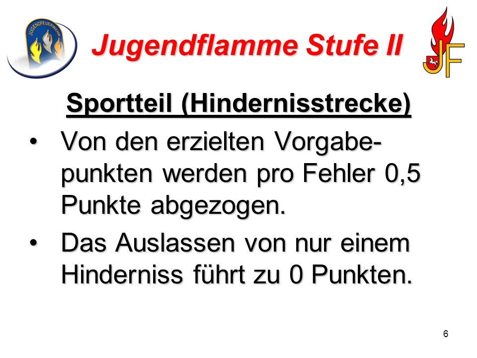 6 Jugendflamme Stufe II Sportteil (Hindernisstrecke) Von den erzielten Vorgabe- punkten werden pro Fehler 0,5 Punkte abgezogen.Von den erzielten Vorgabe- punkten werden pro Fehler 0,5 Punkte abgezogen.