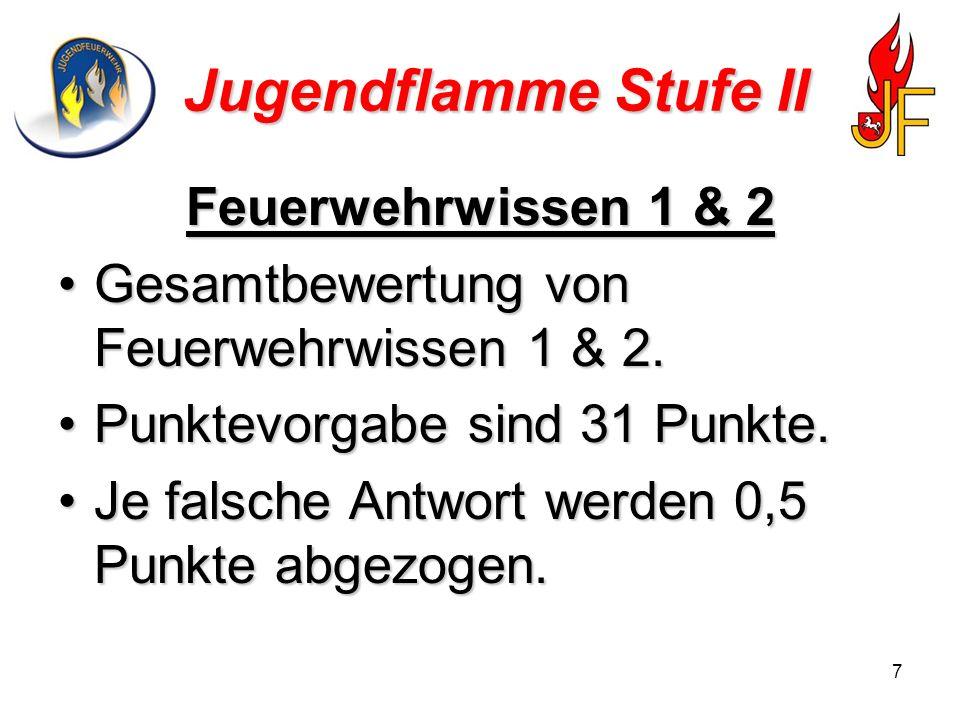 8 Jugendflamme Stufe II Feuerwehrwissen 1 Jedes Gruppenmitglied zieht zwei Karten.
