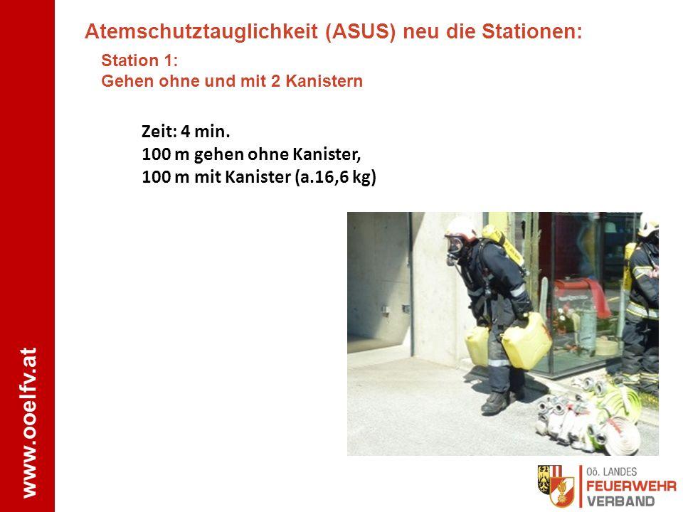 www.ooelfv.at Foto FF Wels Atemschutztauglichkeit (ASUS) neu die Stationen: Station 1: Gehen ohne und mit 2 Kanistern Zeit: 4 min. 100 m gehen ohne Ka