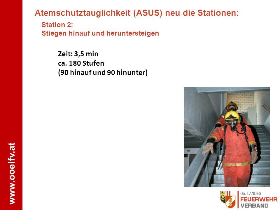 www.ooelfv.at Atemschutztauglichkeit (ASUS) neu die Stationen: Station 2: Stiegen hinauf und heruntersteigen Zeit: 3,5 min ca. 180 Stufen (90 hinauf u