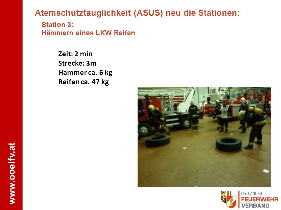 www.ooelfv.at Atemschutztauglichkeit (ASUS) neu die Stationen: Station 3: Hämmern eines LKW Reifen Zeit: 2 min Strecke: 3m Hammer ca. 6 kg Reifen ca.