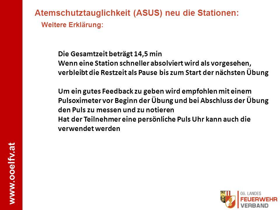 www.ooelfv.at Atemschutztauglichkeit (ASUS) neu die Stationen: Weitere Erklärung: Die Gesamtzeit beträgt 14,5 min Wenn eine Station schneller absolvie