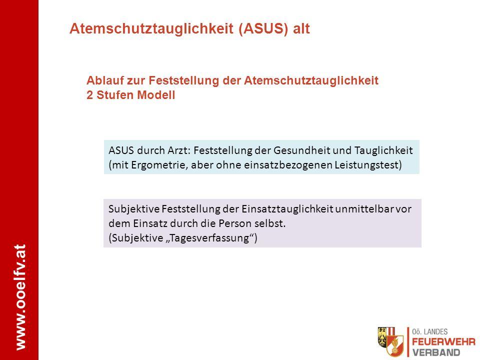 www.ooelfv.at Atemschutztauglichkeit (ASUS) alt Ablauf zur Feststellung der Atemschutztauglichkeit 2 Stufen Modell ASUS durch Arzt: Feststellung der G