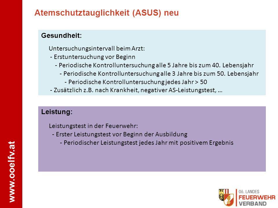www.ooelfv.at Atemschutztauglichkeit (ASUS) neu Gesundheit: Untersuchungsintervall beim Arzt: - Erstuntersuchung vor Beginn - Periodische Kontrollunte